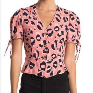 NWT TopShop button down peplum leopard puff sleeve